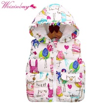 Winter Children Clothing Coats Baby Girl  Animal Graffiti Thick Vest Kids Girls Princess Hooded Warm Jackets Outerwear h8