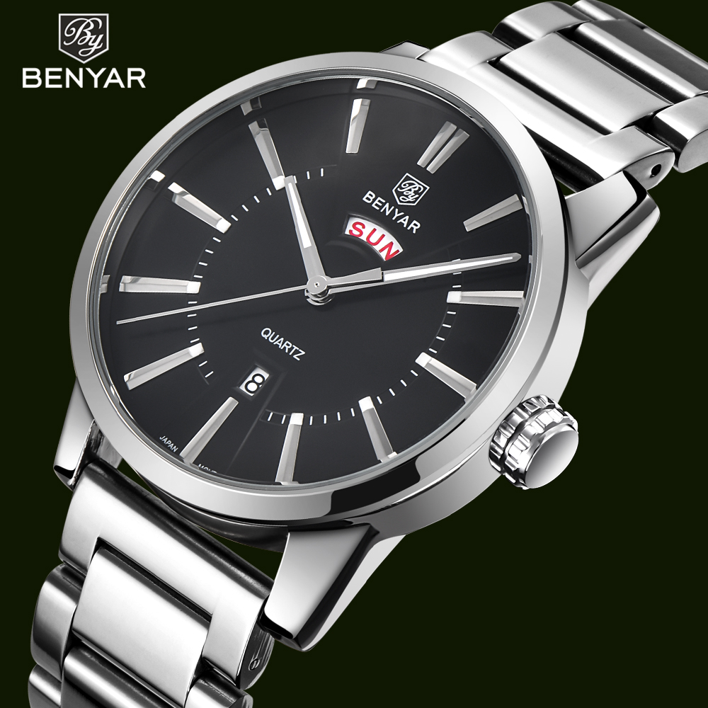 BENYAR Brand Luxury Men Watch Quartz Waterproof Casual Business Men's Dual Calendar stainless steel Silver Bracelet Wrist watch mike 8831 men s business casual quartz watch silver blue