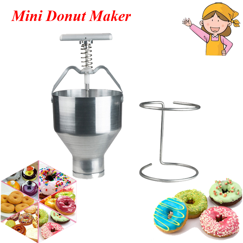 Stainless Steel Mini Manual Donut Making Machine Cake Donut Hopper with Stand Commercial Household Donut Molding Machine T-03 90mm big size donut waffle machine automatic electric mini commercial donut making machines