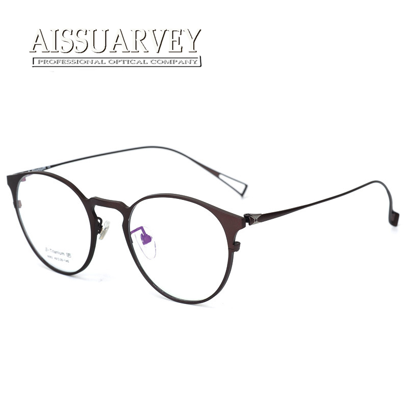 d0192f2d18183 Pure Titanium Eyeglasses Frame Men Women Optical Round Ultra-light Glasses  Prescription Brand Design Eyewear Top Quality Goggles