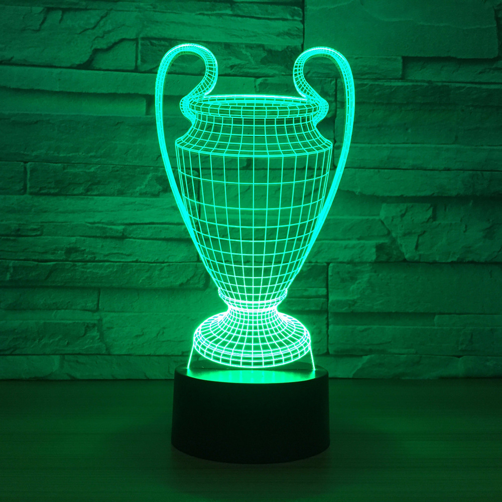 3D Football Cup Trophy Lamp 7 Colors Changing 3D LED Night Light Touch Button USB Baby Bedroom Sleep Luminaria Light