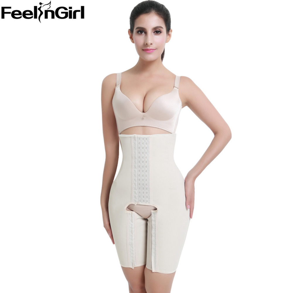 FeelinGirl 100% Latex Shaperwear Bodysuit S~5XL Slimming Waist Trainer Sexy Booty Lifter Pants Waist Belt Corset -B