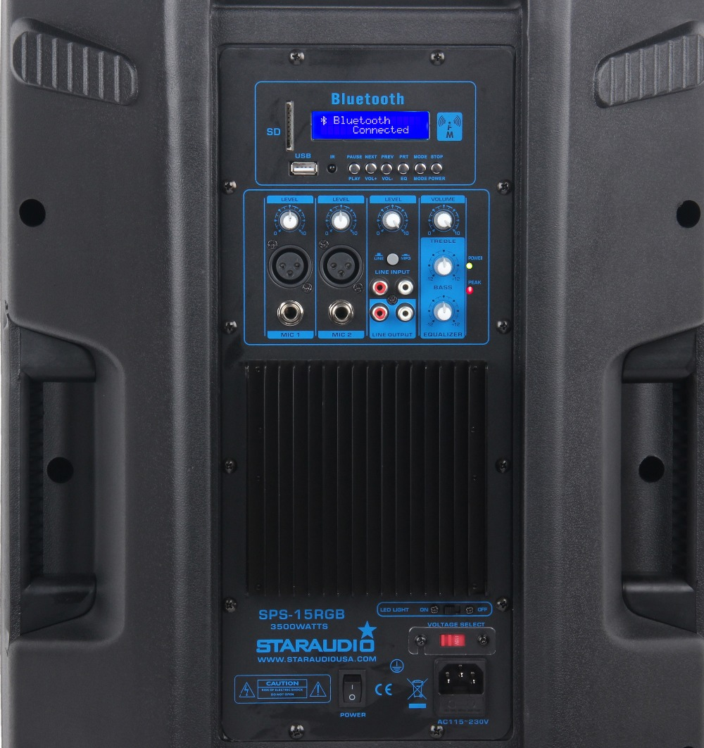 pro 3500W 15inch powered pa stage dj speaker with usb sd bluetooth rgb led light for party disco club bar stage show