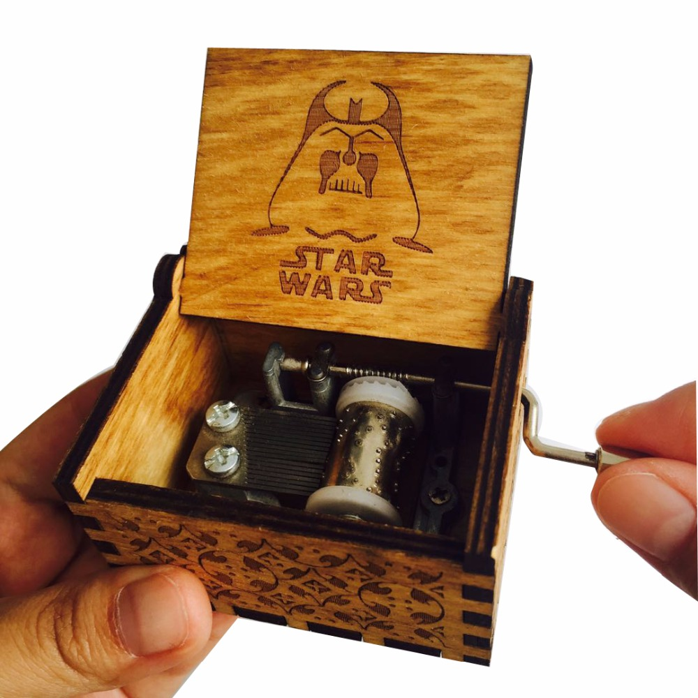 Wooden Hand Crank Star Wars Music Box Antique Engraving Star war Musical Box Gift For Christmas Birthday Drop shipping