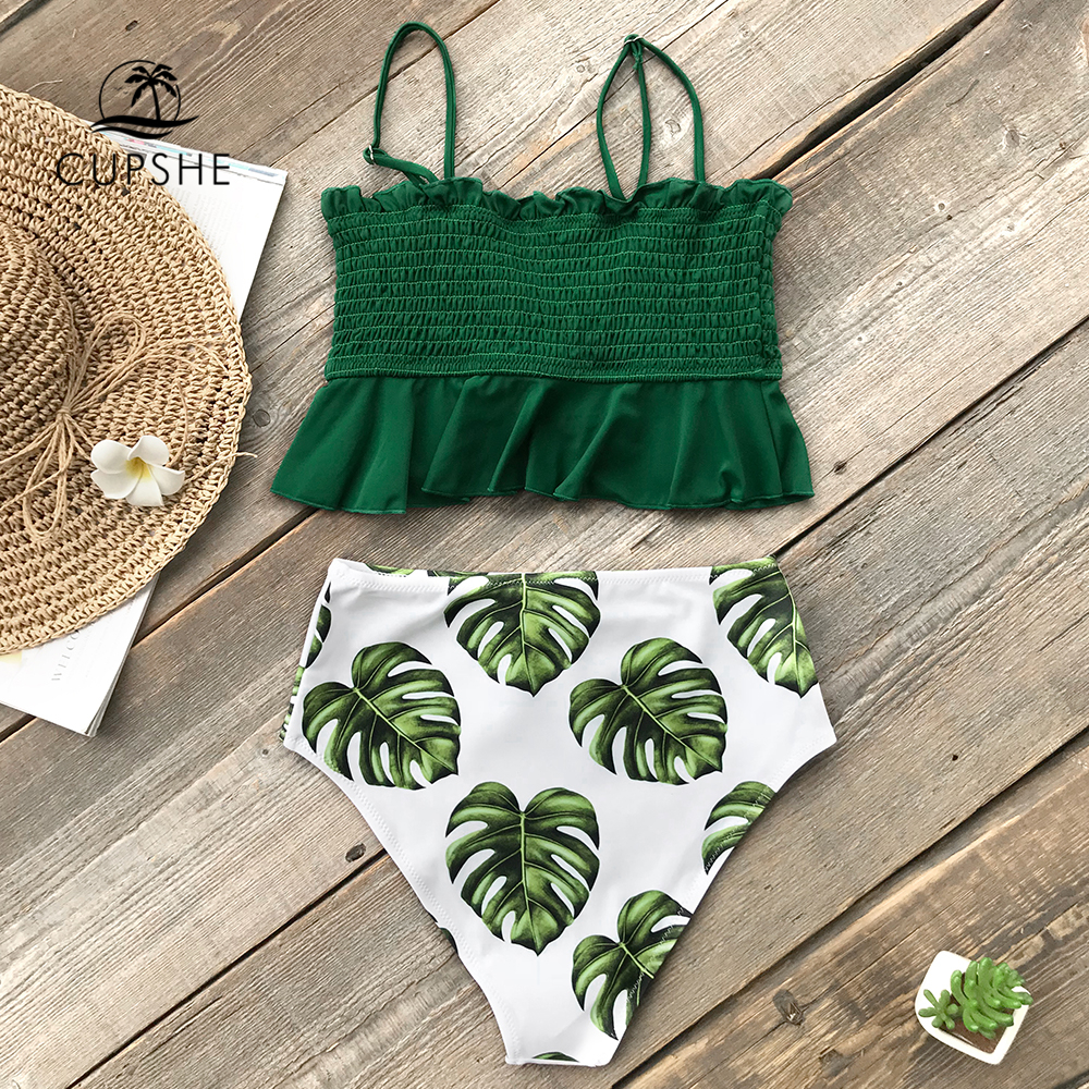 CUPSHE Smocked Green Leaf Print High-Waisted Bikini Sets Women Ruffle Two Pieces Swimsuits 2020 Girl Boho Bathing Suits 3