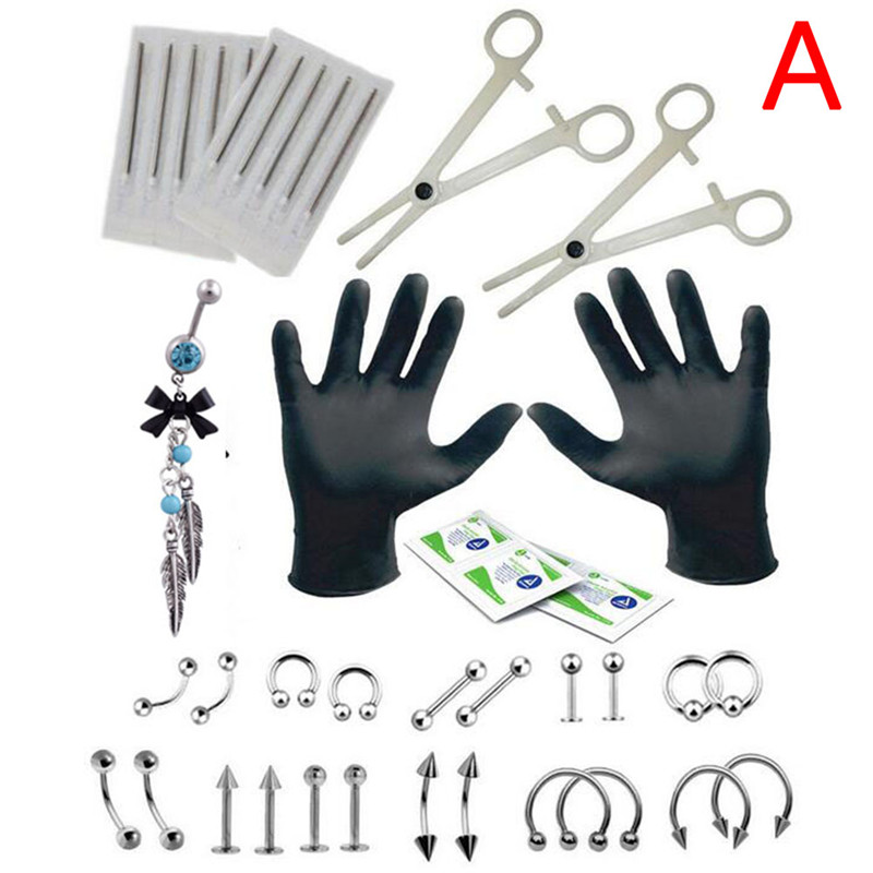 Body Piercing Kit 16G and 14G Jewelry Tongue Tragus Ear Eyebrow Nipple Lip Nose!