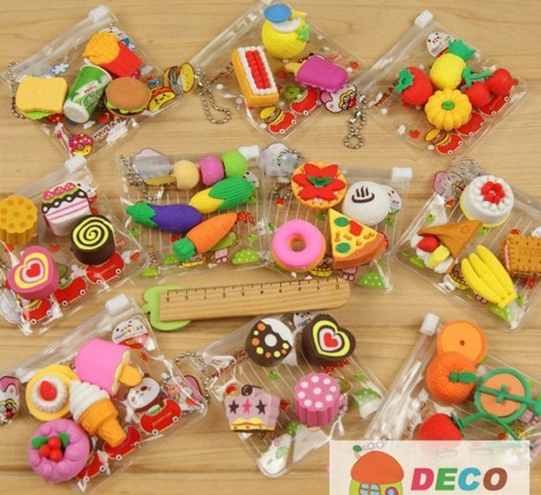 1pack lot new cute food erasers funny cartoon erasers with wholesale price ss