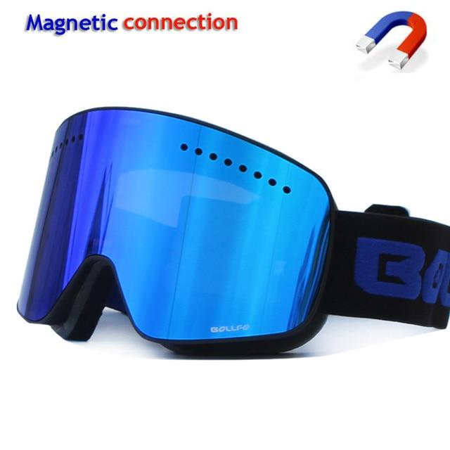 Kayak gözlüğü manyetik çift katmanlı polarize Lens kayak anti sis UV400 snowboard gözlük erkekler kadınlar kayak gözlüğü gözlük