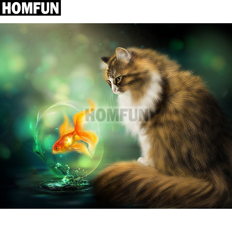 HOMFUN Full Square Round Drill 5D DIY Diamond Painting quot Cat fish quot Embroidery Cross Stitch 5D Home Decor Gift A02459 in Diamond Painting Cross Stitch from Home amp Garden