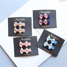 4-5 pairs Classic design stripe hair bows clip for girls kids solid bowknot barrettes grip children basic accessories