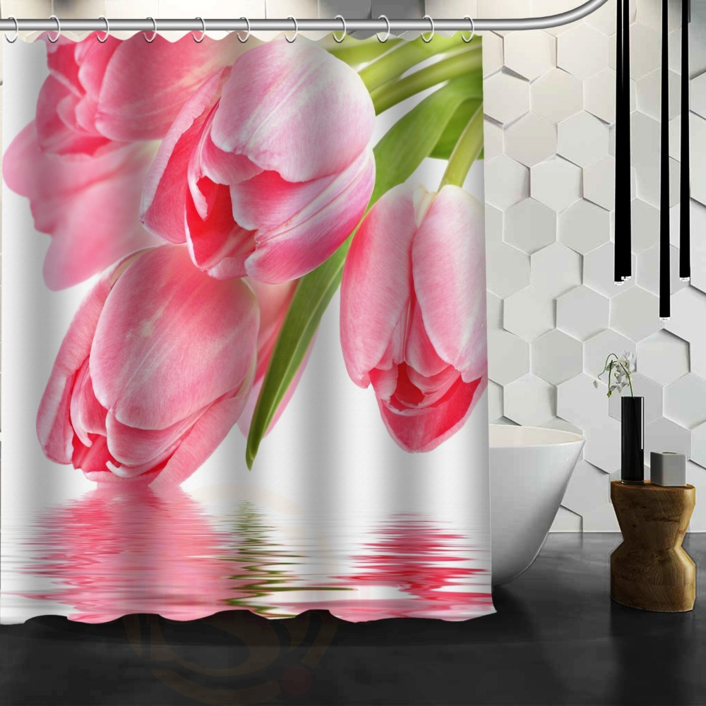 Custom printed shower curtains - Stylish Design Bath Curtain Printed Corlorful Flowers White Tulip Pink Beautiful Pictures Custom Shower Curtain 66 X 72