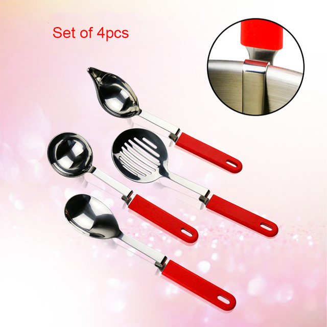 High Quality Silicone Handle Stainless Steel Hanging On The Edge Of Pot  Nylon Utensils Set Of