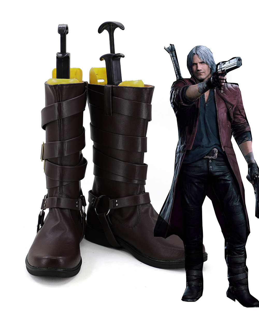 Classic Dante Cosplay Boots Brown Shoes Halloween Carnival Cosplay Shoes Custom Made Any Size
