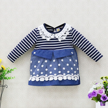 2015 Baby girl summer clothes toddler winter denim fashion cotton long sleeve dress children clothing newborn kids underdress baby clothing tutu party mini dress cute toddler clothes patchwork denim shirt dress kids baby girl long sleeve denim tulle 1 6t