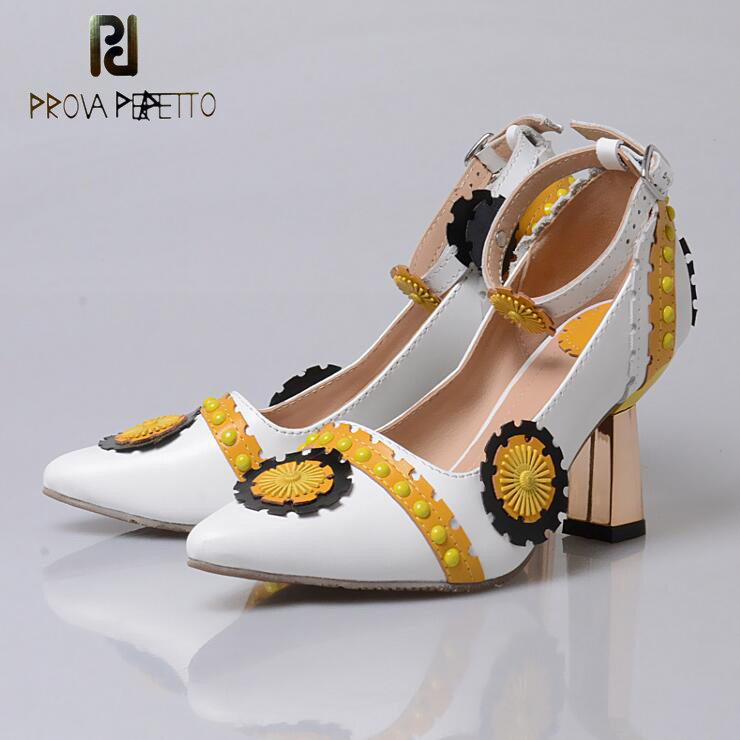 Prova Perfetto Retro Spell Color Flowers Women Pumps Ankle Buckle Pointed Toe Shallow Strange High Heels Ethnic Shoes WomenProva Perfetto Retro Spell Color Flowers Women Pumps Ankle Buckle Pointed Toe Shallow Strange High Heels Ethnic Shoes Women