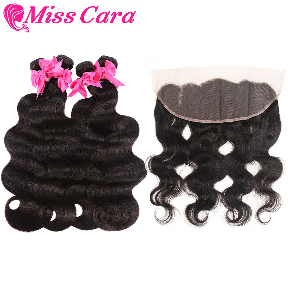 Malaysian Body Wave 3/4 Bundles With Frontal Miss Cara 100% Remy Human Hair Bundles With Closure Lace 13x4 Frontal With Bundles