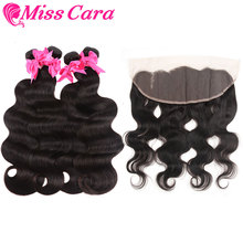 Malaysian Body Wave 3/4 Bundles With Frontal Miss Cara 100% Remy Human Hair Closure Lace 13x4