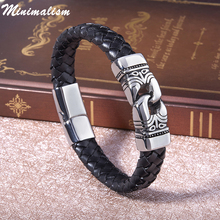 Chain Bracelet Men 2018 Magnet Gold Stainless Steel Rope Bracelets Genuine Leather Bracelets for Men Cuff Bracelets