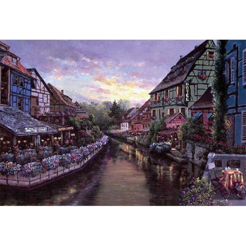 Adults 1000 pieces Fragrant town Jigsaw Puzzle 1000 Piece Flower City Wooden Paper Educational Toy Decor