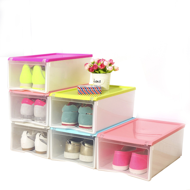 Transparent Shoe Storage Box Rectangle PP Shoe Organizer Thickened Drawer  Shoe Boxes Multifunction Household Storage Box
