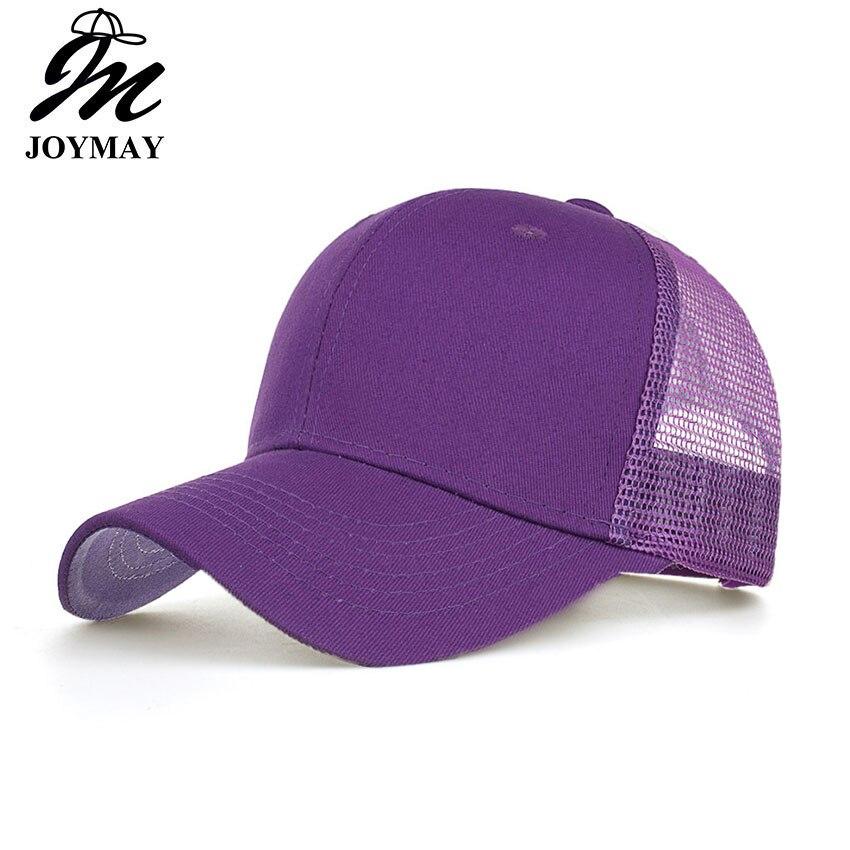 Joymay 2018 Simple Mesh Baseball Cap Women Snapback Hat Summer Messy Bun Hats Casual Adjustable Sport Caps Drop Shipping B550