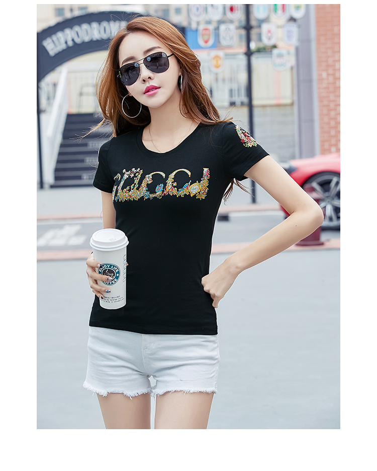 f5d4b727ef1 Korean Style Summer Female T Shirt Wholesale Casual Lady Brand Tops ...