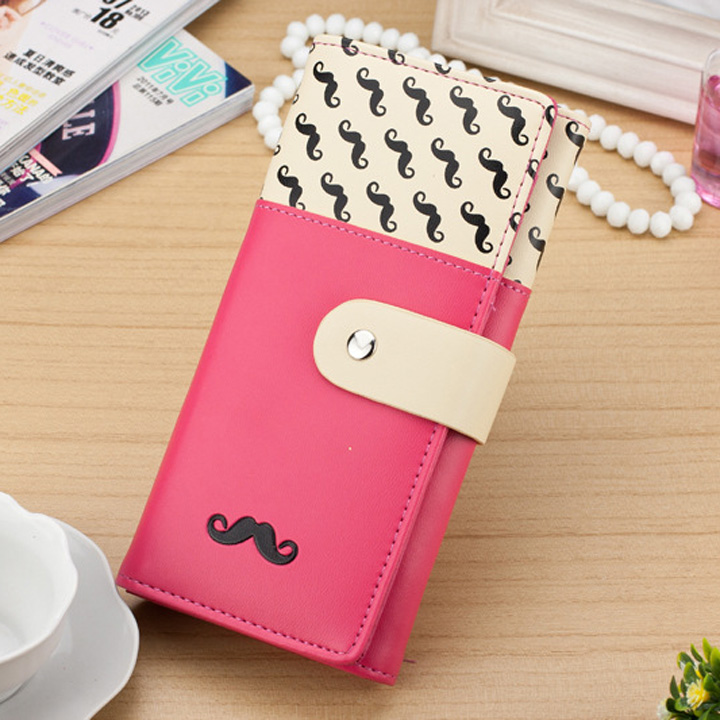 2018 carteira feminina Smooth PU Leather Wallet Cute Mustaches Pattern Purse Clutches Coin Purse Cards Holder Bag for Women AGD 3
