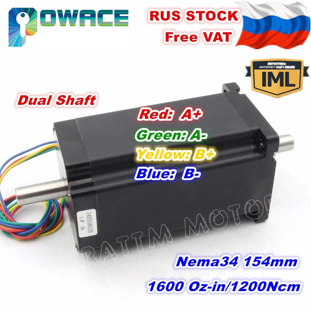 RU STOCK Quality Nema34 154mm Dual Shaft 1600 Oz in 5 0A CNC Stepper Motor