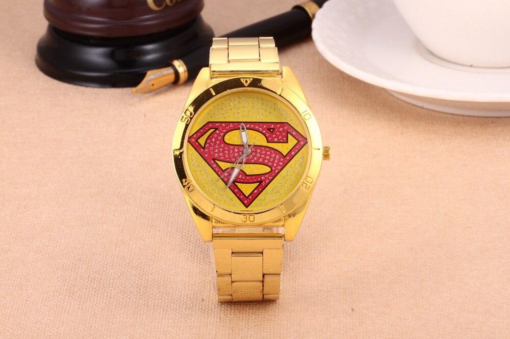 1 Stücke Superman Neue Mode Sport Superman Uhr Diamanten Männer Frauen Goldene Edelstahl Quarzuhr Relogio Feminino Kinder Ungleiche Leistung