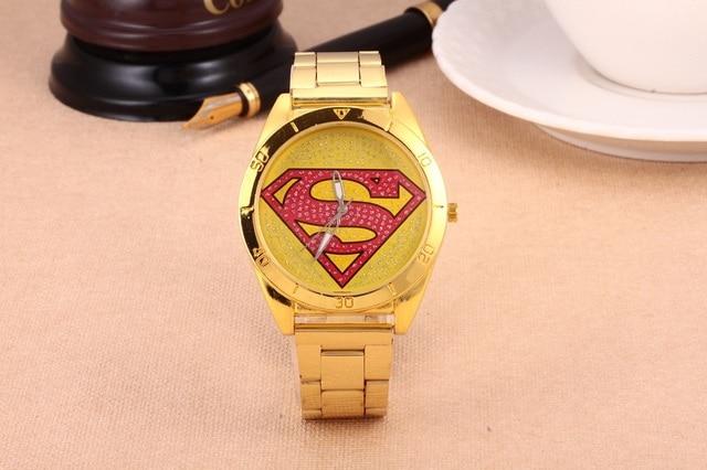 1Pcs Superman New Fashion Sports Superman Watch Diamonds Men Women Golden stainl