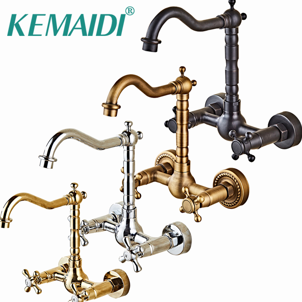 KEMAIDI Wall Mounted Kitchen Basin Sink Mixer Faucet 360 Swivel Antique Brass Bathroom Basin Sink Mix Tap Dual Handles antique brass dual cross handles swivel kitchen bathroom sink basin faucet mixer taps anf103