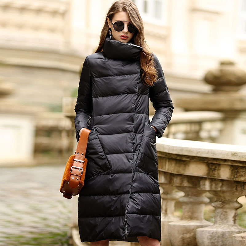 MLinina Ultra Light White Duck Winter Down Jacket Women Double Side Slim Down long Coat Single Breasted   Parkas   Female Waterproof