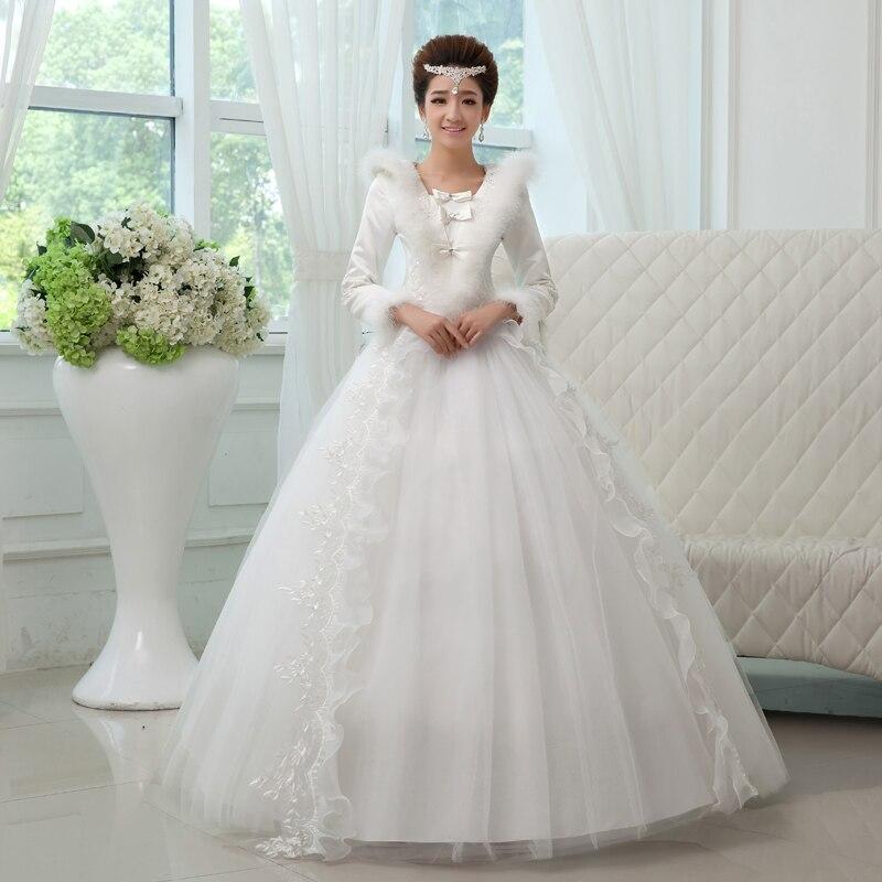 Winter Wedding Gowns 2015: Winter Fur Neck Wedding Dress 2015 Plus Size A Line Long