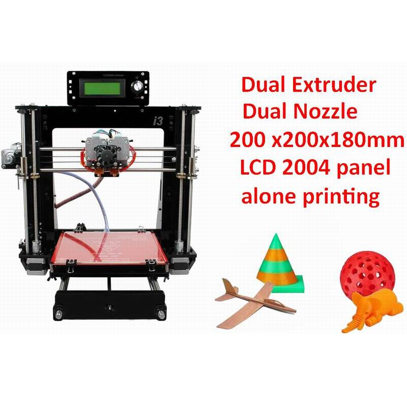 Dual MK8 Extruder I3 3D Printer Double Dozzle 2 Colors Print 200 x200x180mm double color m6 3d printer 2017 high quality dual extruder full metal printers 3d with free pla filaments 1set gift