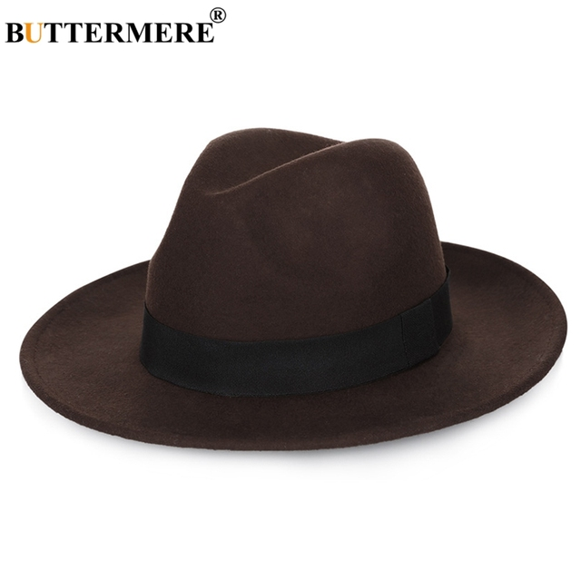 df3808a1 BUTTERMERE Large Brimmed Hats Woman Wool Fedora Ladies Coffee Casual Jazz Caps  Men Solid Wide Brim Winter Holiday Felt Hat Red
