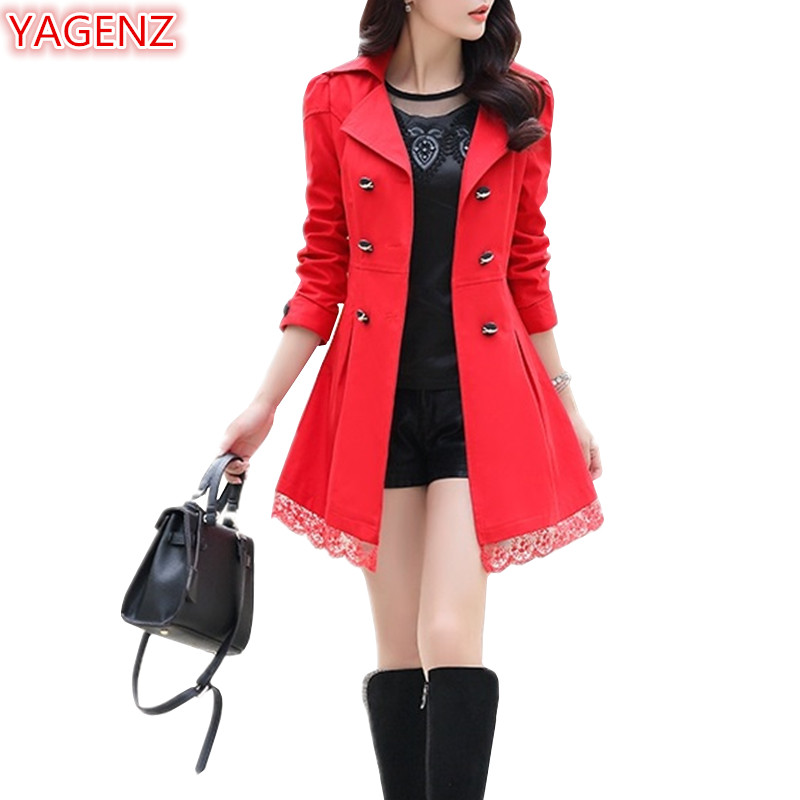 YAGENZ Lace Coat Women Long-Sleeves Autumn Large-Size Slim A71 Leisi Casual
