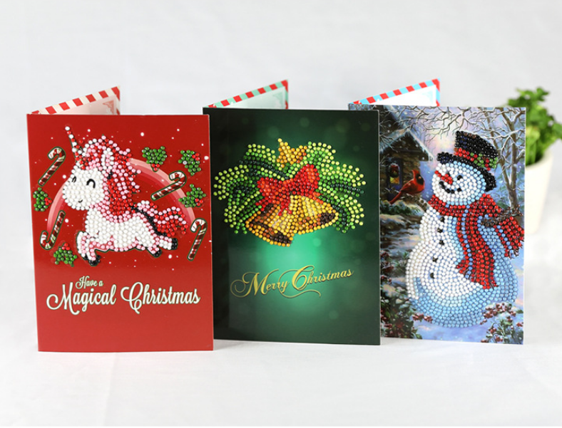 diamond embroidery christmas greeting cards full round 6d