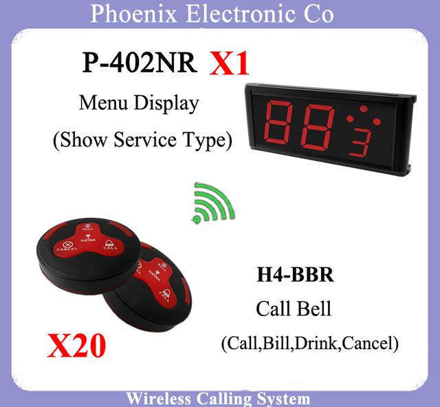 Fila sem fio Chamada Garçom Chamando Sistema Com 20 pcs de H4 Botão de campainha Para Chamar o Garçom Para O Serviço e Visor do Receptor P-402NR