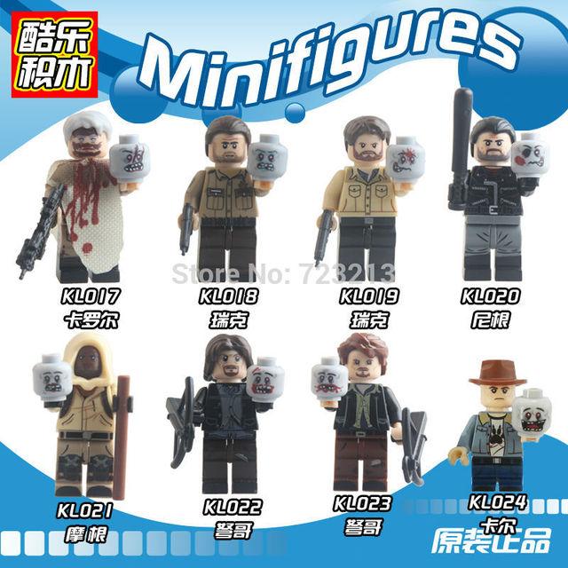 Zombie Block Walking Dead single sale Figure Rick Grimes Calro Carl Negan Daryl Dixon Morgan Building Blocks Set Bricks Toy