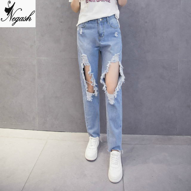7e9257aca9a Real shot 2017 knee big hole jeans