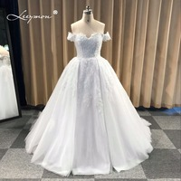 Leeymon Custom Made Luxury Off Shoulder Lace Sexy Wedding Party Vintage 2018 Wedding Dress Plus Size