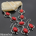 HERMOSA  jewelry Retro elegance 925 sterling silver  elegant oval red coral necklace Earring Sets HF713