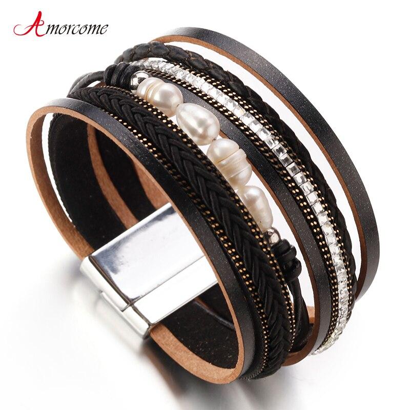 Amorcome Leder Armbänder Für Frauen & Männer 2019 Mode Damen Natürliche Perle Multilayer Breite Wrap Armband Weiblichen Schmuck Geschenk