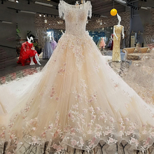 do dower Luxury Elegant O Neck Wedding Dress Gown