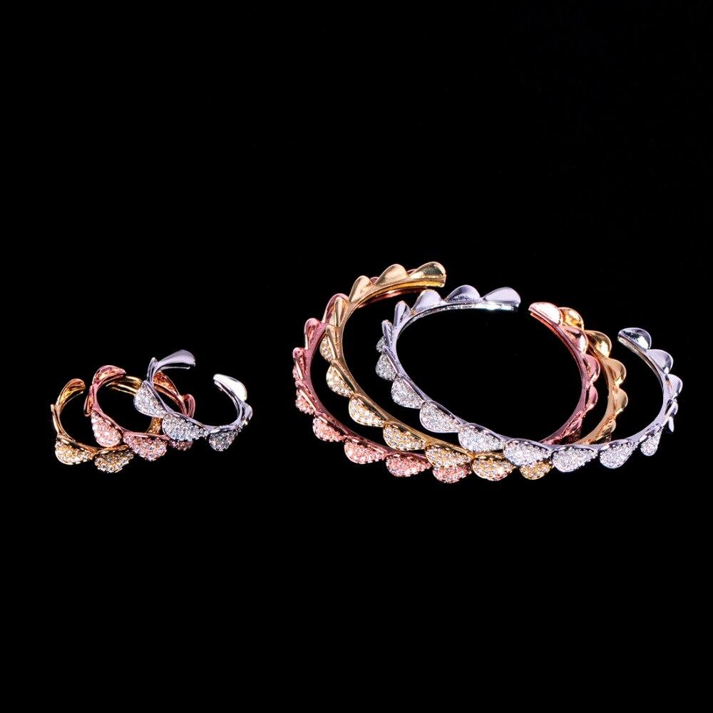 Blucome 6 шт. модные украшения из лепестков набор AAA циркон медь кольцо браслеты наборы для женщин юбилей индийская свадьба изысканное украшение