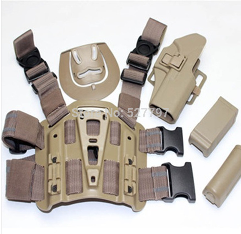 For Glock 17 22 31 Tactical Airsoft Drop Leg Right handed holster Set W Panel Mag