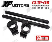 CNC Machined 33mm Clip-On ClipOns Handlebars Universal Fit For 33mm Fork Tubes Black