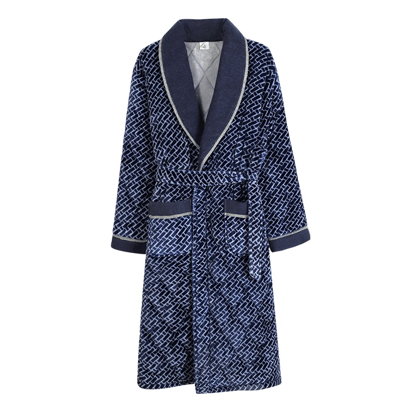 New 2019 Velvet Cotton Padded Men Thick Plus Size L 3XL Winter Kimono Homme Peignoir Bathrobe
