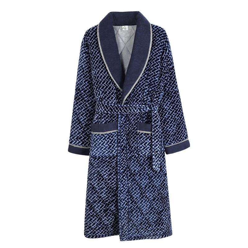 New 2020 Velvet+Cotton Padded Men Thick Plus Size M-3XL Winter Kimono Homme Peignoir Bathrobe Warm Robes Pajamas Male's Bathrobe