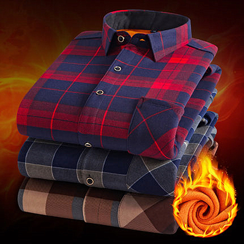 Fashion Men Winter Warm Flannel Plaid Dress Shirts Cotton Long Sleeve Men Work Shirts Brand Casual Slim Fit Camisa Social Shirts Pakistan
